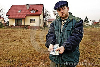Farmer shoving polish currency