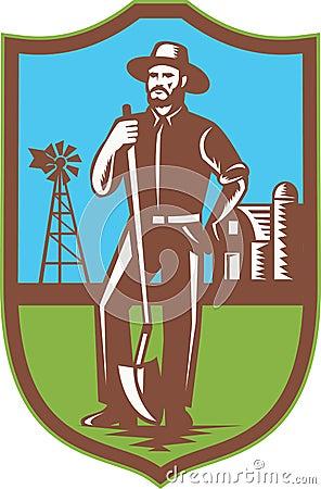 Farmer With Spade Windmill Farm Barn Retro
