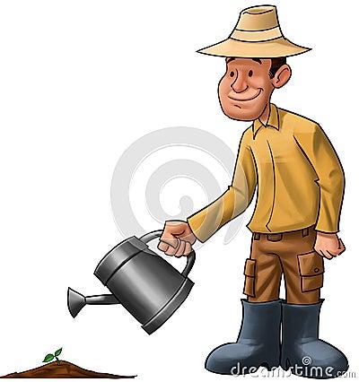 Farmer sprinkle a plant