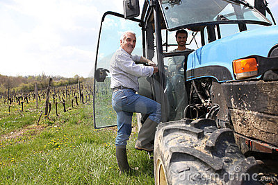 Farmer in vineyard with tractor