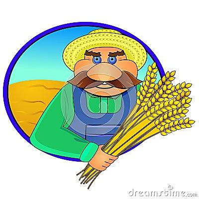Farmer and wheat ears