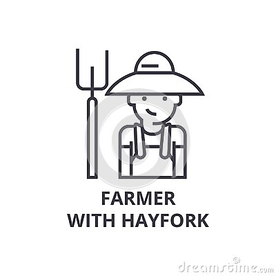 Free Farmer With Hayfork Line Icon, Outline Sign, Linear Symbol, Vector, Flat Illustration Stock Photography - 105338992