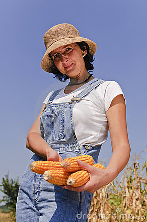 Farmer woman with maize