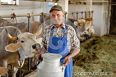 Farmer is working on the organic farm