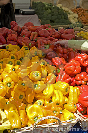 Farmers Market fresh red & yellow peppers
