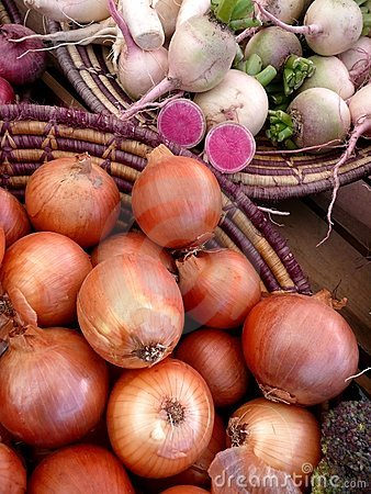 Farmers Market vegetables: onions and turnips