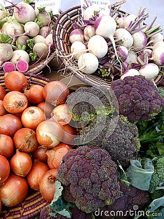 Farmers Market vegetables: purple broccoli