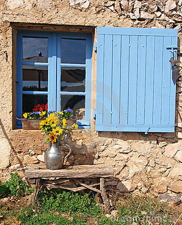 Free Farmhouse Window With Blue Shutter Royalty Free Stock Photos - 14743318