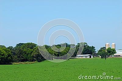 Farmland with barns and silos