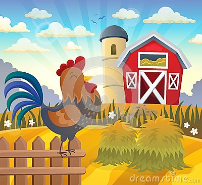 Free Farmland With Rooster On Fence Royalty Free Stock Photography - 88106567