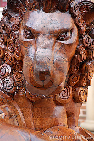 Farnham lion carving