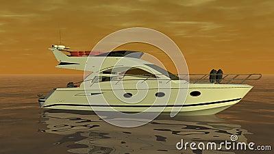 Fartyg på det orange havet vektor illustrationer