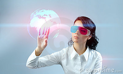 Fascinating brunette wearing 3d anaglyph stereo gl