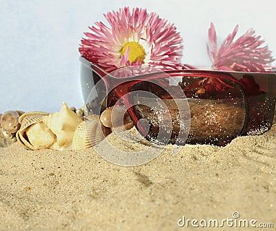 Fashion accessories on beach