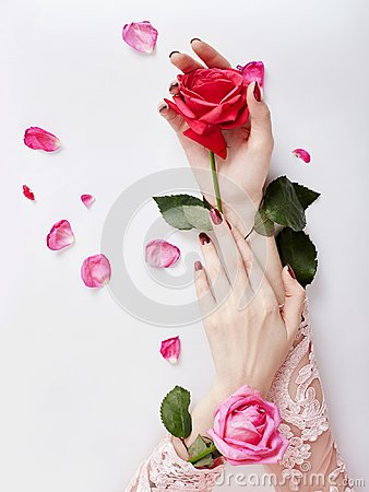 Free Fashion Art Portrait Woman In Summer Dress And Flowers In Her Hand With A Bright Contrasting Makeup. Creative Beauty Photo Girls Stock Photography - 110321102