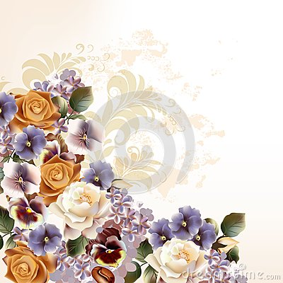 Free Fashion Background With Roses In Retro Style Royalty Free Stock Images - 41777979