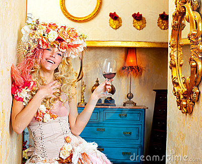 Fashion baroque blond womand drinking red wine