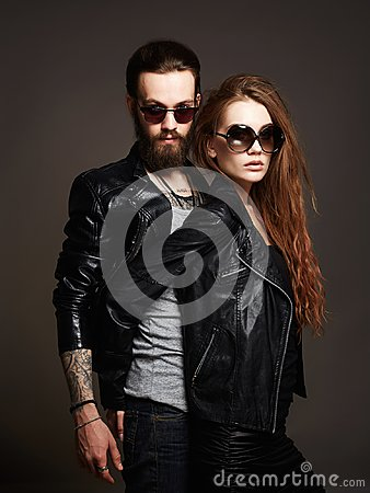 Free Fashion Beautiful Couple In Sunglasses And Leather Royalty Free Stock Images - 106583379