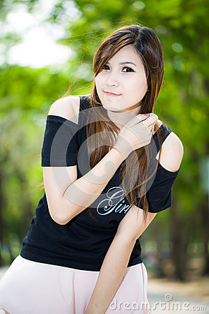 Fashion beautiful young woman outdoors portrait