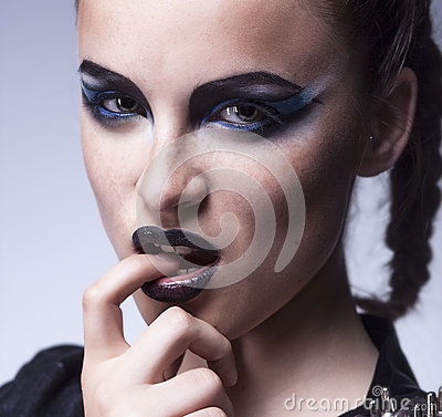 Fashion beauty. Creative woman make up, face-art