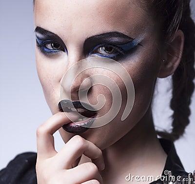 Fashion beauty. Creative woman make up, face-art