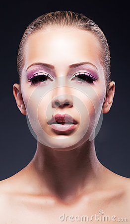 Fashion, beauty, Fresh female face - pink makeup