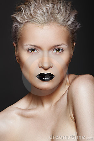 Fashion beauty. Hairstyle, make-up & black lips