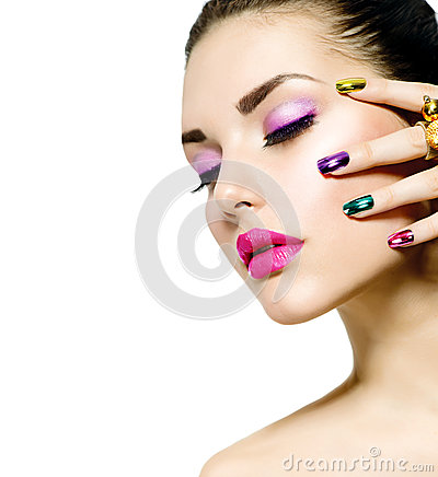 Free Fashion Beauty. Manicure And Makeup Stock Images - 29369884