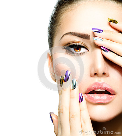 Free Fashion Beauty. Manicure And Makeup Royalty Free Stock Photography - 29458457