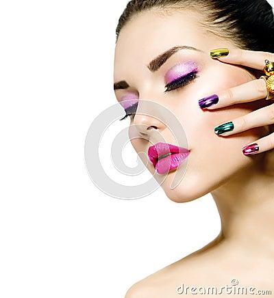 Fashion Beauty. Manicure and Makeup