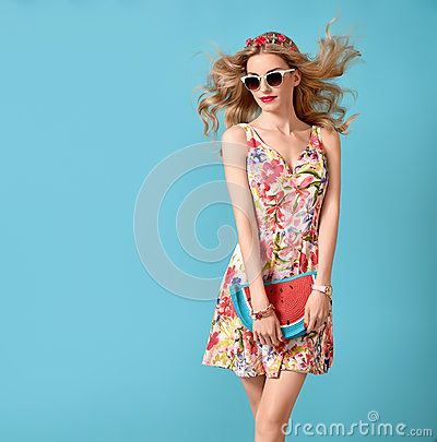 Free Fashion Beauty. Sensual Blond Model. Summer Outfit Royalty Free Stock Photo - 93479475