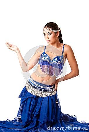 Fashion Belly dancer sitting on knees