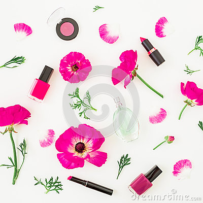 Free Fashion Blogger Desk With Cosmetics - Lipstick, Eye Shadows, Nail Polish And Pink Flowers On White Background. Flat Lay, Top View. Stock Photos - 94366403