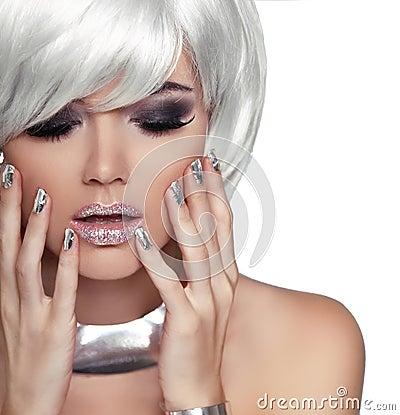 Free Fashion Blond Girl. Beauty Portrait Woman. White Short Hair. Iso Stock Photos - 38344933