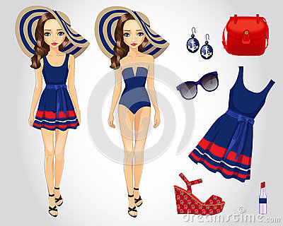 Girl Paper Doll Outfit and Accessories