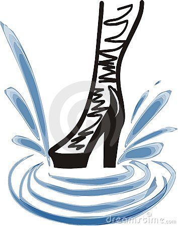 Fashion boot of a girl in splashes