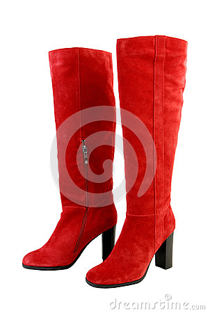 Free Fashion Boots. Red Knee-high Boots Isolated Royalty Free Stock Photography - 82613567