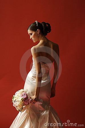 Free Fashion Bride On Red Background Royalty Free Stock Image - 4184346