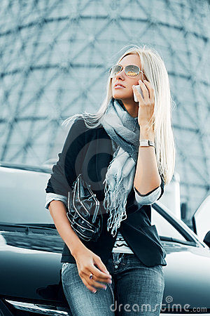 Free Fashion Business Woman Calling On Cell Phone By Her Car Royalty Free Stock Photography - 18103787