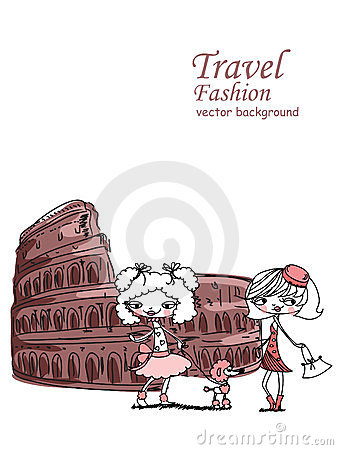 Fashion Cartoon Girl travels,vector