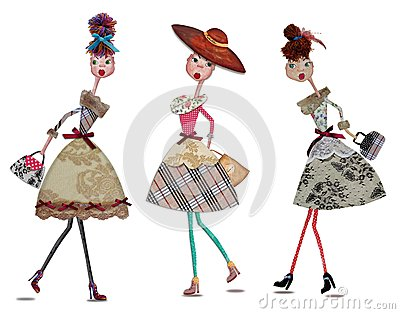Fashion cartoon girls