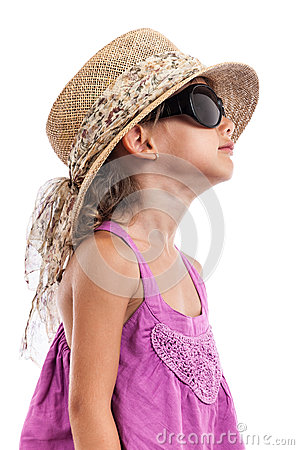 Fashion child black sunglasses portrait