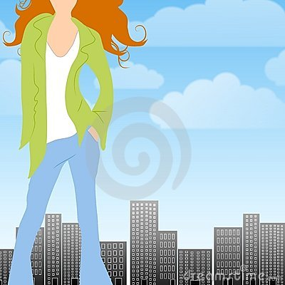 Fashion City Caucasian Woman