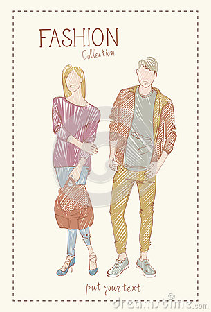 Free Fashion Collection Of Clothes Set Of Male And Female Models Wearing Trendy Clothing Sketch Stock Image - 96372421