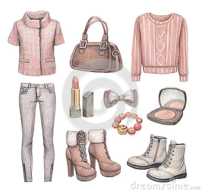 Free Fashion Collection. Watercolor Illustrations Stock Image - 38375711