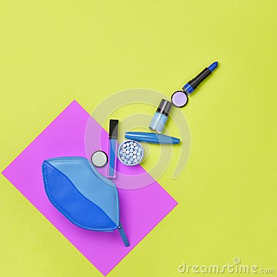 Free Fashion Cosmetic Makeup Set. Beauty Essentials. Stock Photo - 117701740