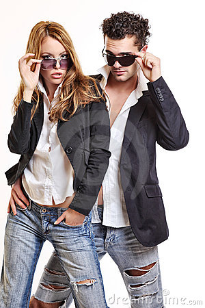 Fashion couple with sunglasses