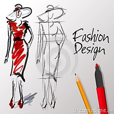 Free Fashion Design Sketches Stock Photo - 36126720