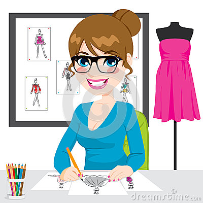 Fashion Designer Drawing Sketches