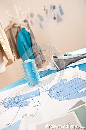 Fashion designer studio with equipment